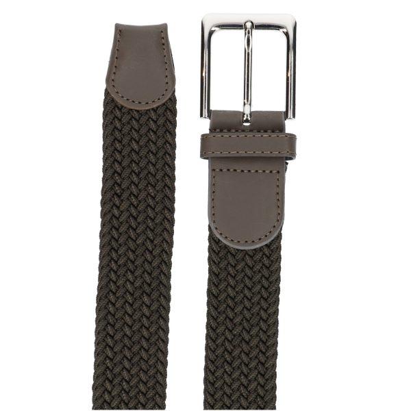 Gevlochten elastische riem, stretch riem heren en dames donker bruin detail
