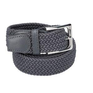 Gevlochten elastische riem, stretch riem heren en dames donker grijs voor