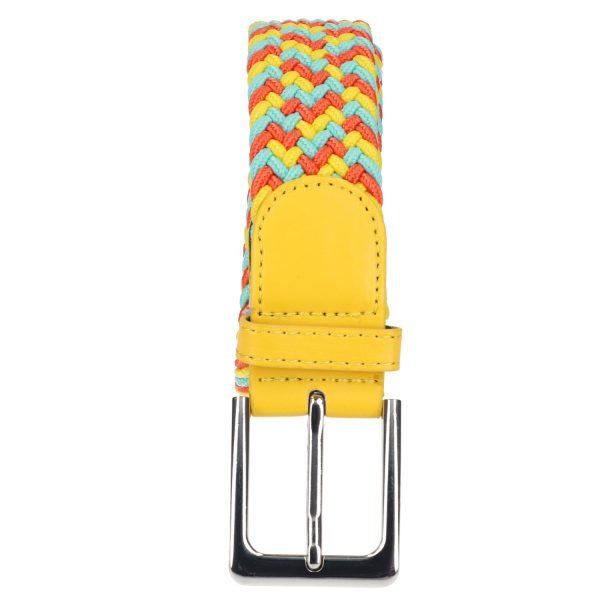 Gevlochten elastische riem, stretch riem heren en dames driekleurig geel lichtblauw oranje