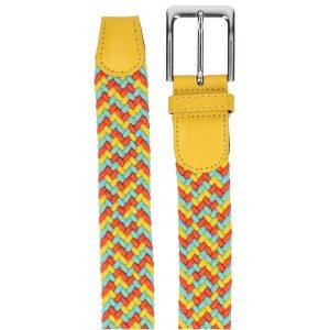 Gevlochten elastische riem, stretch riem heren en dames driekleurig geel lichtblauw oranje detail