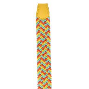 Gevlochten elastische riem, stretch riem heren en dames driekleurig geel lichtblauw oranje eind