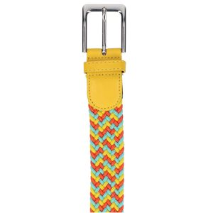 Gevlochten elastische riem, stretch riem heren en dames driekleurig geel lichtblauw oranje gesp
