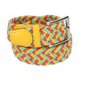 Gevlochten elastische riem, stretch riem heren en dames driekleurig geel lichtblauw oranje voor