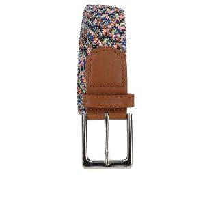 Gevlochten elastische riem, stretch riem heren en dames gekleurd met witte stippen