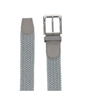 Gevlochten elastische riem, stretch riem heren en dames grijs detail