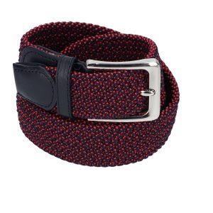 Gevlochten elastische riem, stretch riem heren en dames marineblauw met rode stippen voor