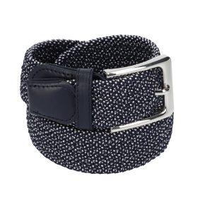 Gevlochten elastische riem, stretch riem heren en dames marineblauw met witte stippen voor