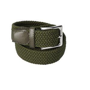 Gevlochten elastische riem, stretch riem heren en dames olijfgroen voor