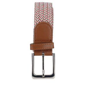 Gevlochten elastische riem, stretch riem heren en dames rood, olijfgroen en witte stippen