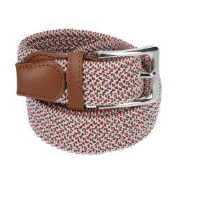 Gevlochten elastische riem, stretch riem heren en dames rood, olijfgroen en witte stippen voor