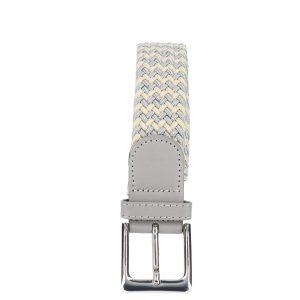Gevlochten elastische riem, stretch riem heren en dames tweekleurig beige grijs