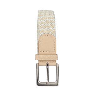 Gevlochten elastische riem, stretch riem heren en dames tweekleurig beige wit