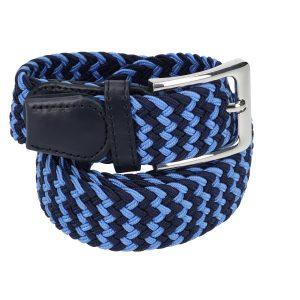 Gevlochten elastische riem, stretch riem heren en dames tweekleurig blauw voor