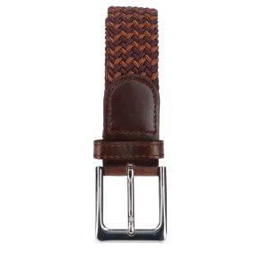 Gevlochten elastische riem, stretch riem heren en dames tweekleurig bruin lichtbruin