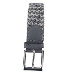 Gevlochten elastische riem, stretch riem heren en dames tweekleurig grijs donker grijs