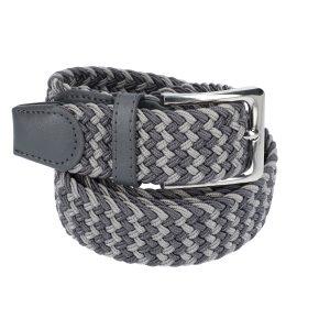Gevlochten elastische riem, stretch riem heren en dames tweekleurig grijs donker grijs voor