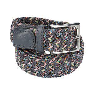 Gevlochten elastische riem, stretch riem heren en dames tweekleurig grijs met stippen grijze gesp voor