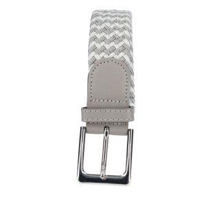 Gevlochten elastische riem, stretch riem heren en dames tweekleurig grijs wit