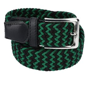 Gevlochten elastische riem, stretch riem heren en dames tweekleurig groen zwart voor