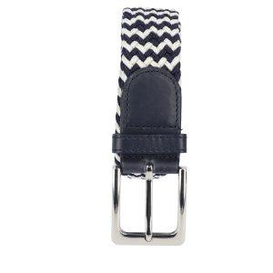 Gevlochten elastische riem, stretch riem heren en dames tweekleurig marineblauw wit