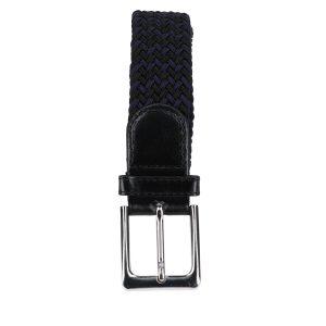 Gevlochten elastische riem, stretch riem heren en dames tweekleurig marineblauw zwart