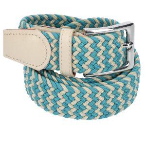 Gevlochten elastische riem, stretch riem heren en dames tweekleurig turquoise beige voor