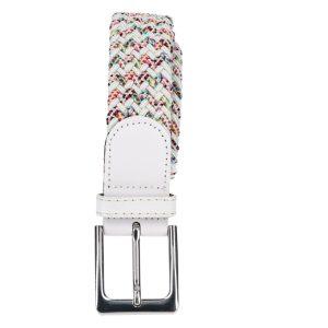 Gevlochten elastische riem, stretch riem heren en dames tweekleurig wit met stippen witte gesp