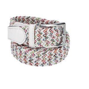 Gevlochten elastische riem, stretch riem heren en dames tweekleurig wit met stippen witte gesp voor