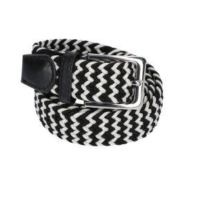 Gevlochten elastische riem, stretch riem heren en dames tweekleurig zwart wit voor
