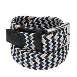 Gevlochten elastische riem, stretch riem heren en dames vierkleurig beige wit zwart blauw voor