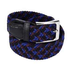 Gevlochten elastische riem, stretch riem heren en dames vierkleurig bruinrood blauw zwart marineblauw voor