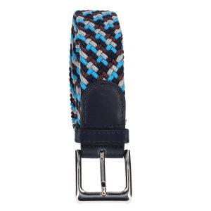 Gevlochten elastische riem, stretch riem heren en dames vierkleurig bruinrood lichtblauw grijs marineblauw