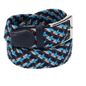 Gevlochten elastische riem, stretch riem heren en dames vierkleurig bruinrood lichtblauw grijs marineblauw voor