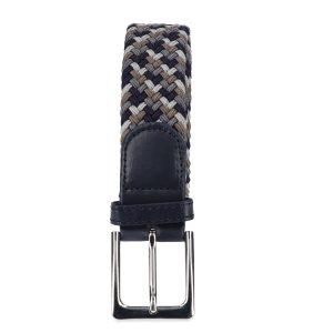 Gevlochten elastische riem, stretch riem heren en dames vierkleurig donkerbruin donkergrijs grijs marineblauw