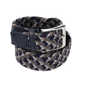 Gevlochten elastische riem, stretch riem heren en dames vierkleurig donkerbruin donkergrijs grijs marineblauw voor