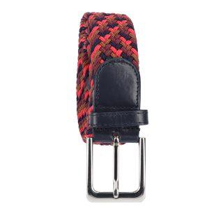 Gevlochten elastische riem, stretch riem heren en dames vierkleurig lichtbruin marineblauw wijnrood rood