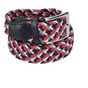 Gevlochten elastische riem, stretch riem heren en dames vierkleurig rood grijs marineblauw wit voor