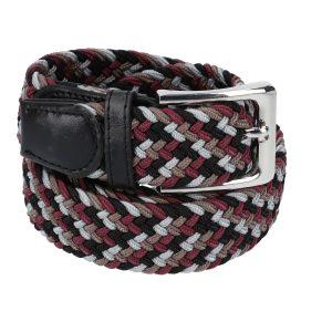 Gevlochten elastische riem, stretch riem heren en dames vierkleurig wijnrood bruin zwart grijs voor