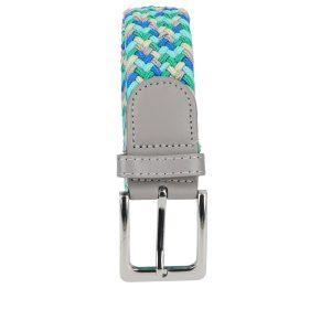 Gevlochten elastische riem, stretch riem heren en dames vijfkleurig beige groen turquoise blauw lichtgrijs