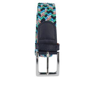 Gevlochten elastische riem, stretch riem heren en dames vijfkleurig grijs lichtblauw groen marineblauw zalmroze