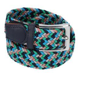 Gevlochten elastische riem, stretch riem heren en dames vijfkleurig grijs lichtblauw groen marineblauw zalmroze voor