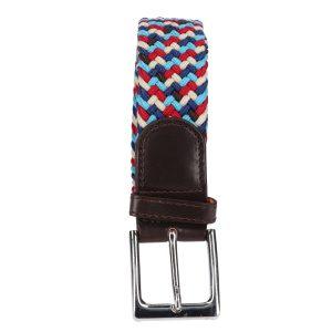 Gevlochten elastische riem, stretch riem heren en dames vijfkleurig lichtblauw rood blauw beige zwart