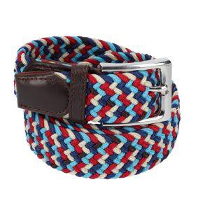 Gevlochten elastische riem, stretch riem heren en dames vijfkleurig lichtblauw rood blauw beige zwart voor