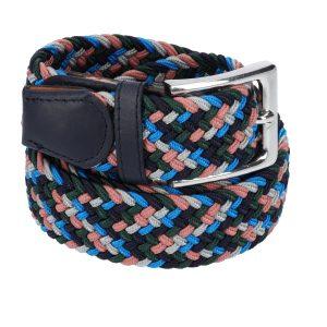 Gevlochten elastische riem, stretch riem heren en dames vijfkleurig zwart lichtblauw lichtgrijs zalmroze donkergroen voor